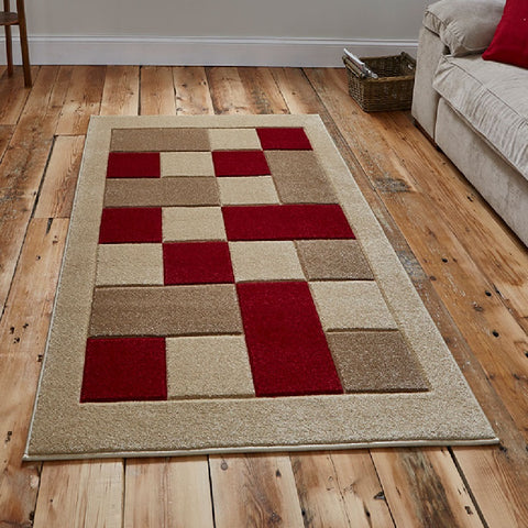 Think Rugs Matrix MT04 Beige & Red | Modern Beige & Red Rugs | 60cm x 225cm