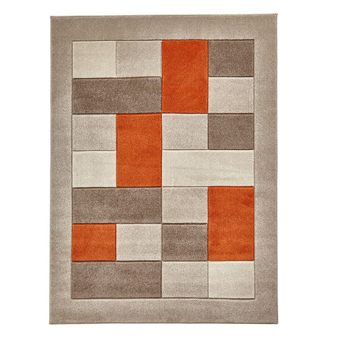 Think Rugs Matrix MT04 Beige & Terracotta | Modern Beige & Terra Rugs | 60cm x 225cm