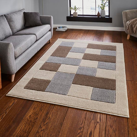 Think Rugs Matrix MT04 Beige & Grey | Modern Beige & Grey Rugs | 80cm x 150cm