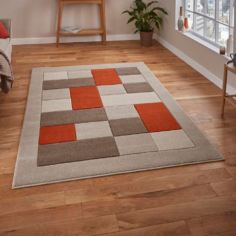 Think Rugs Matrix MT04 Beige & Terracotta | Modern Beige & Terra Rugs | 80cm x 150cm