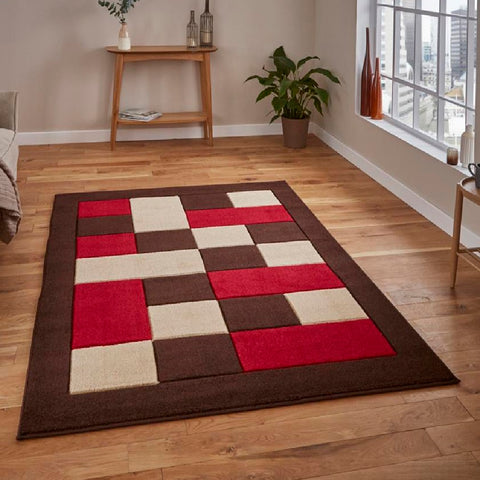 Think Rugs Matrix MT04 Brown & Red | Modern Brown & Red Rugs | 80cm x 150cm