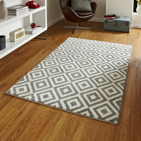 Think Rugs Matrix MT89 | Modern Grey & White Rugs | 80cm x 150cm
