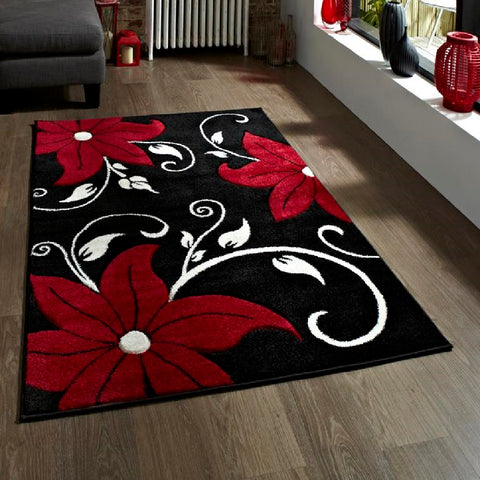 Think Rugs Verona OC15 Black & Red | Floral Black & Red Rugs | 60cm x 120cm