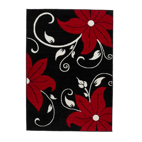 Think Rugs Verona OC15 Black & Red | Floral Black & Red Rugs | 60cm x 225cm