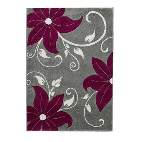 Think Rugs Verona OC15 Grey & Purple | Floral Grey & Purple Rugs | 60cm x 225cm
