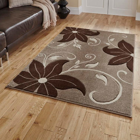 Think Rugs Verona OC15 Beige & Brown | Floral Beige & Brown Rugs | 80cm x 150cm