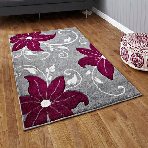 Think Rugs Verona OC15 Grey & Purple | Floral Grey & Purple Rugs | 80cm x 150cm