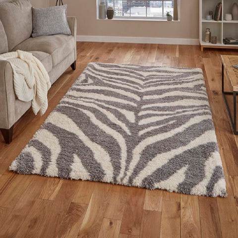 Think Rugs Portofino M289 | Shaggy Ivory & Grey Rugs | 120cm x 170cm