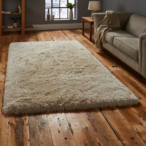 Think Rugs Polar PL95 Cream | Shaggy Cream Rugs | 60cm x 120cm