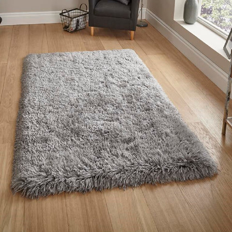 Think Rugs Polar PL95 Light Grey | Shaggy Light Grey Rugs | 60cm x 120cm