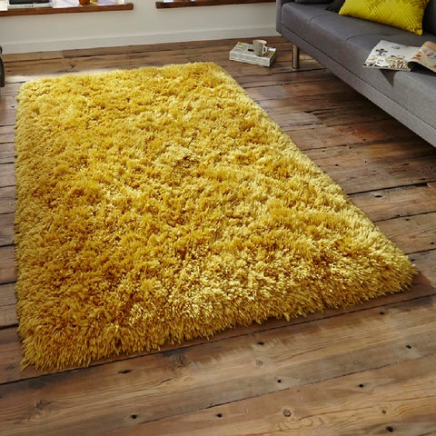 Think Rugs Polar PL95 Yellow | Shaggy Yellow Rugs | 80cm x 150cm