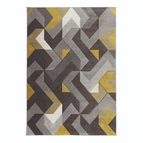 Flair Rugs Hand Carved Aurora | Modern Grey & Ochre Rugs | 120cm x 170cm