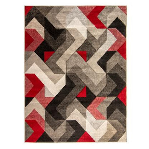 Flair Rugs Hand Carved Aurora | Modern Grey & Red Rugs | 160cm x 230cm