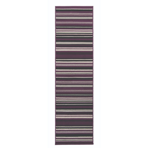 Flair Rugs Element Prime Canterbury | Runner Purple & Black Rugs | 60cm x 220cm