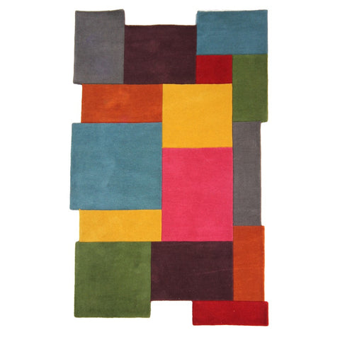 Flair Rugs Abstract Collage | Modern Multicoloured Rugs | 90cm x 150cm