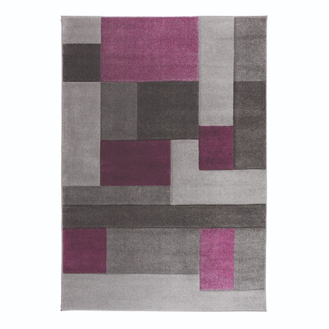 Flair Rugs Hand Carved Cosmos | Modern Purple & Grey Rugs | 80cm x 150cm