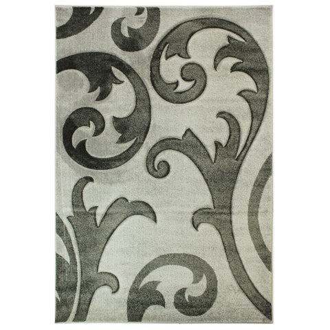 Flair Rugs Hand Carved Elude | Floral Grey & Grey Rugs | 120cm x 170cm