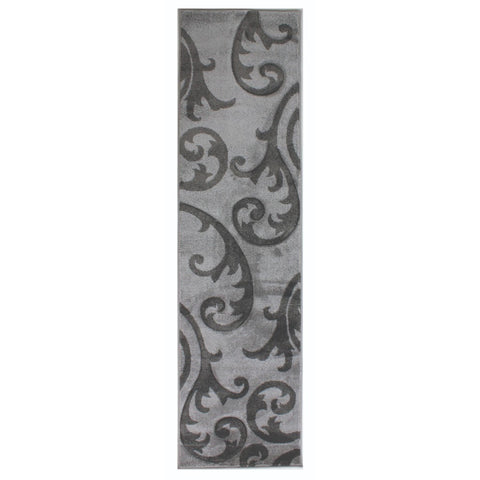 Flair Rugs Hand Carved Elude | Runner Grey & Grey Rugs | 60cm x 230cm
