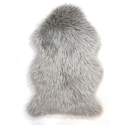 Flair Rugs Faux Fur Sheepskin | Shaggy Grey Rugs | 60cm x 90cm