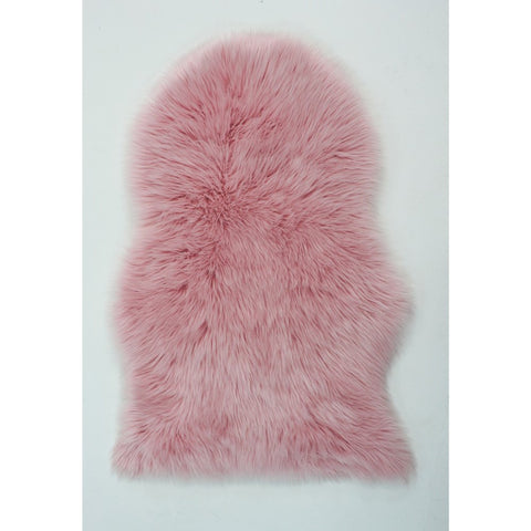 Flair Rugs Faux Fur Sheepskin | Shaggy Pink Rugs | 60cm x 90cm