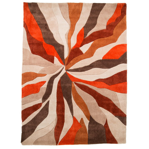 Flair Rugs Infinite Splinter | Modern Orange Rugs | 80cm x 150cm
