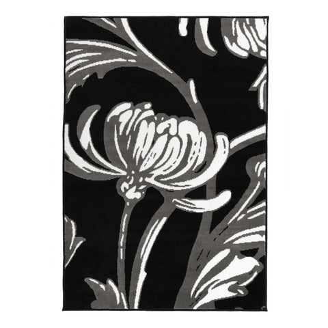 Flair Rugs Element Prime Loretta | Floral Black & Grey Rugs | 120cm x 160cm