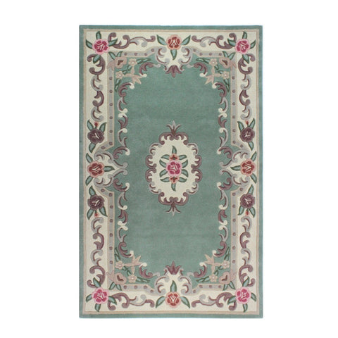 Flair Rugs Lotus Premium Aubusson | Traditional Green Rugs | 120cm x 180cm