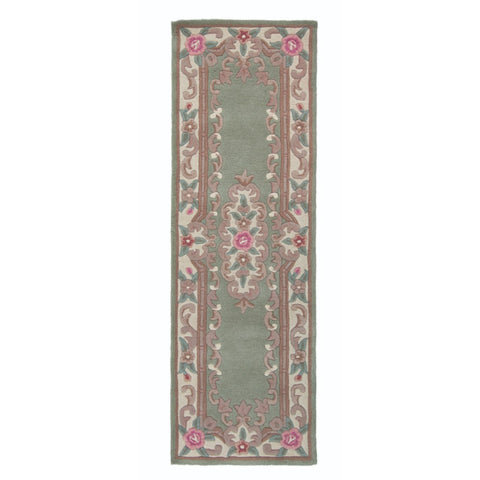 Flair Rugs Lotus Premium Aubusson | Runner Green Rugs | 67cm x 210cm