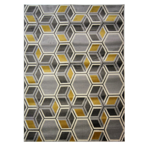 Flair Rugs Cocktail Mimosa | Modern Grey & Ochre Rugs | 120cm x 170cm