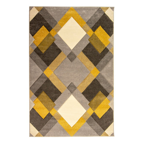 Flair Rugs Hand Carved Nimbus | Modern Grey & Ochre Rugs | 160cm x 230cm