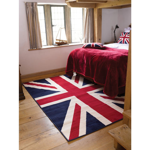 Flair Rugs Element Prime Buckingham | Kids Red & White & Blue Rugs | 120cm x 160cm