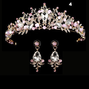 Royal Crystal Crown Earring Set - crown-modern