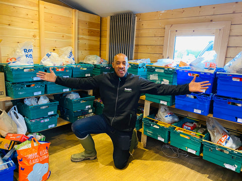 Dion Dublin helps colleagues at Dandys Community Foodbank