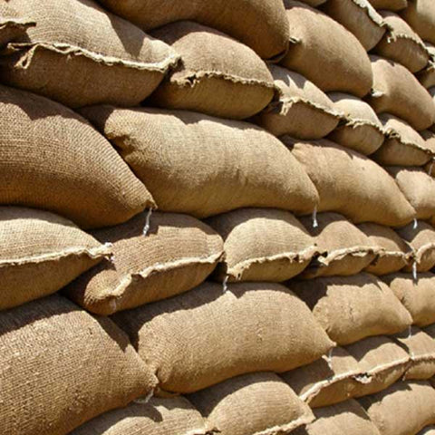 Filled Hessian Flood Sandbags