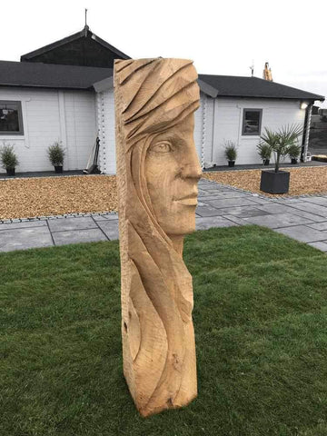 Lady's Face Wood Carving Sculpture | Dandys
