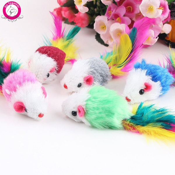 COLORFUL SOFT FLEECE MOUSE CAT TOY (10 pieces)