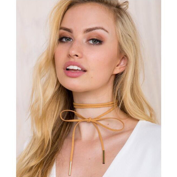 Sexy New Fashionable Black Suede Leather Choker Long Velvet Rope Gold Tube False Necklace for women Jewelry Collier Bijoux