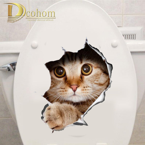 Hole View Vivid Cats 3D Wall Sticker Bathroom Toilet Living Room Decoration Animal Vinyl Decals Art Sticker Wall Poster