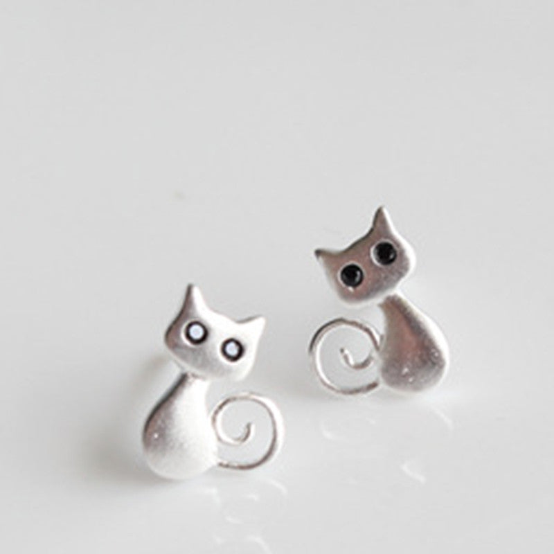 SILVER 925 CUTE CAT STUD EARRINGS FOR GIRLS IN VELVET BAG