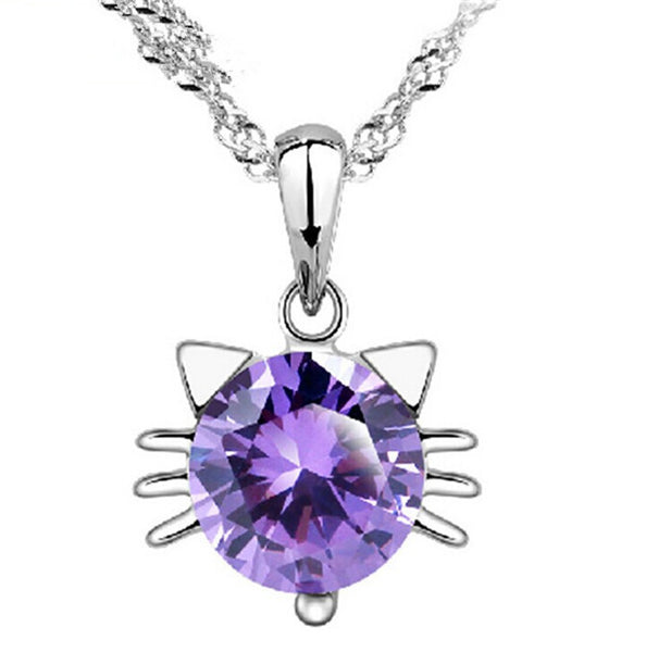 Silver Crystal Cat Pendant for Women OFFER
