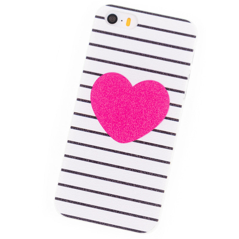 case for iPhone 5S SE i6 i6Plus 6S Plus 4S 5 6 7 Cover Phone Cases Housing Red hearts Stripe Coque Brand Glass Screen Protector