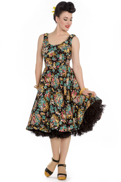 Hell Bunny Monte Carlo Reproduction 1950s Swing Dress