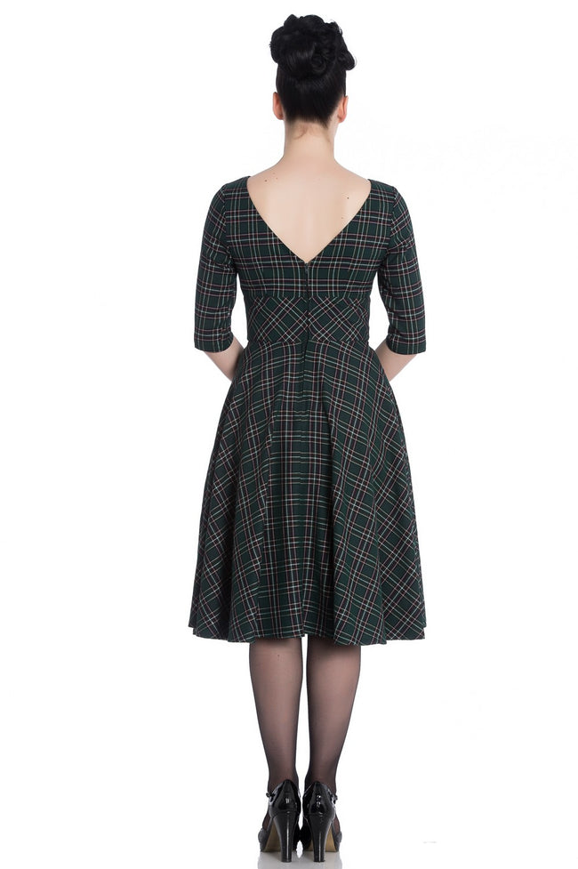 Green Tartan Reproduction 50s Dress