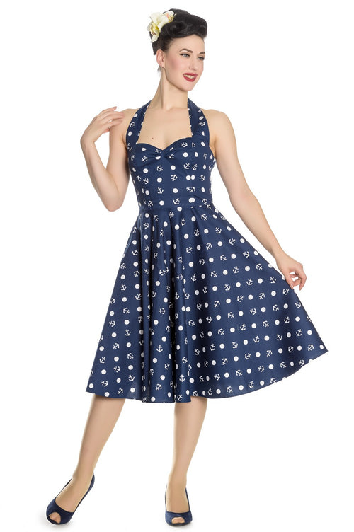 Hell Bunny Marina Blue & White Reproduction 50s Dress