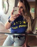 Retro Blue & Yellow Printed Cosmic Queen T- Shirt