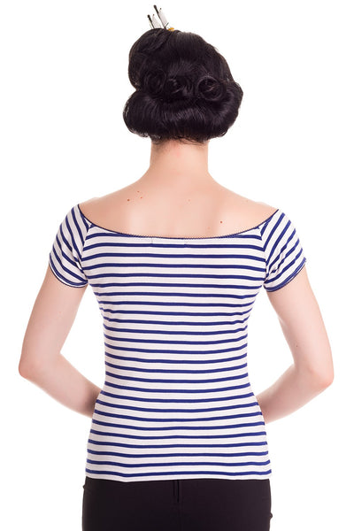 Hell Bunny Blue & White Striped Top