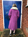 Vintage Pink Wool Coat with White/Grey Fox Fur Collar 14