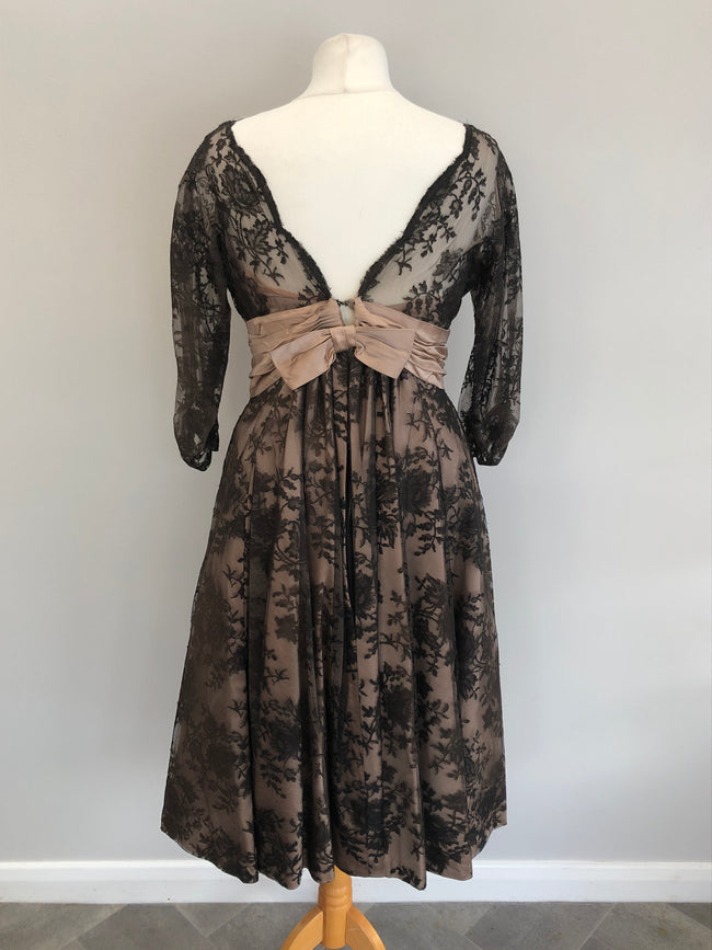 Genuine 1950s Nude Satin Silk & Black Lace Evening Dress Size 10