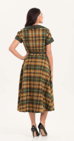 Vintage Style Ella Olive Green Tartan Flared Dress