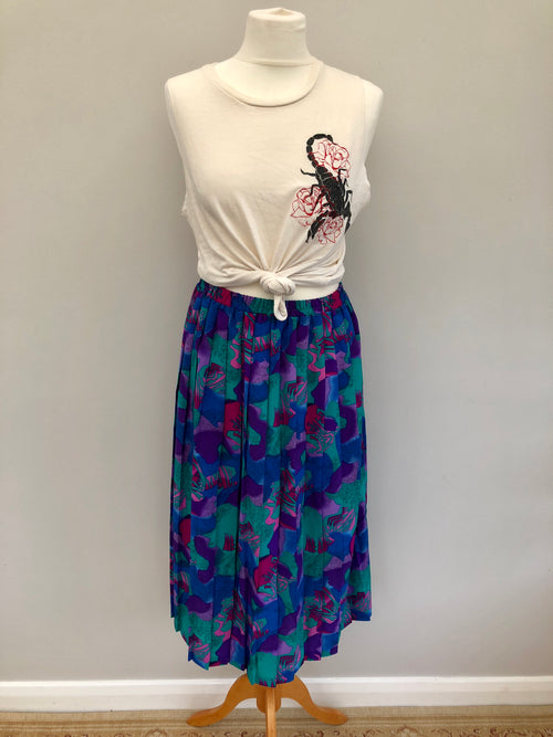 Vintage 80s Multi Abstract Print Skirt Large